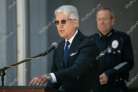Los Angeles County District Attorney George Gascon and Los Angeles Police Chief Michel Moore along with community leaders discuss community violence reduction efforts in Los Angeles on Wednesday, June 30, 2021 in Los Angeles, CA. (Jason Armond / Los Angeles Times)