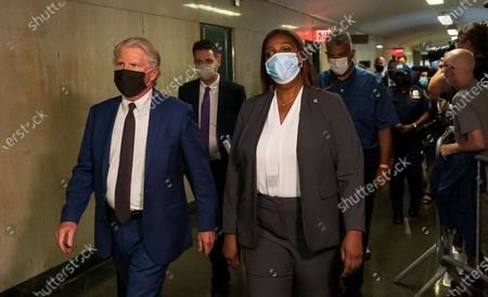 Manhattan District Attorney Cy Vance (L) and New York State Attorney General Letitia James (R) arrive for a hearing for Allen Weisselberg, the chief financial officer for the Trump Organization, for an indictment brought by the Manhattan district attorney's office at Manhattan Criminal Court in New York, New York, USA, 01 July 2021. The Trump Organization, the family business of former US President Donald J. Trump, and Weisselberg have been indicted for alleged tax crimes related to unreported fringe benefits given to employees of company, charges that are result of a years long investigation by Vance's and James' offices.