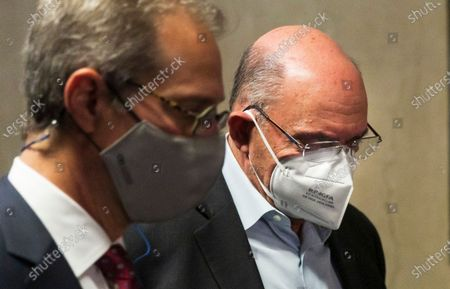 Allen Weisselberg (R), the chief financial officer for the Trump Organization, departs a court hearing following an indictment brought by the Manhattan district attorney's office at Manhattan Criminal Court in New York, New York, USA, 01 July 2021. The Trump Organization, the family business of former US President Donald J. Trump, and Weisselberg have been indicted for alleged tax crimes related to unreported fringe benefits given to employees of company, charges that are result of a years long investigation by Manhattan District Attorney Cy Vance and New York State Attorney General Letitia James.