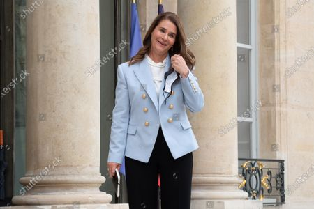 Melinda Gates arrives for a meeting with French President at the Elysee Palace in Paris