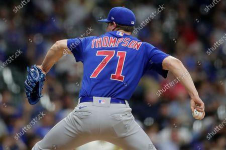Chicago Cubs' Keegan Thompson pitches during the sixth inning of a baseball game against the Milwaukee Brewers, in Milwaukee