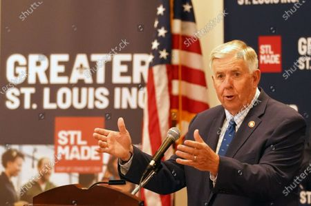 Missouri Governor Mike Parson talks about the Wayfair Fix legislation before signing into law during ceremonies in St. Louis on Thursday, July 1, 2021. The new legislation will help small Missouri businesses compete with large, online retailers. Until now, small businesses in Missouri were required to collect sales taxes every time a purchase is made while their out-of-state online competitors are not.