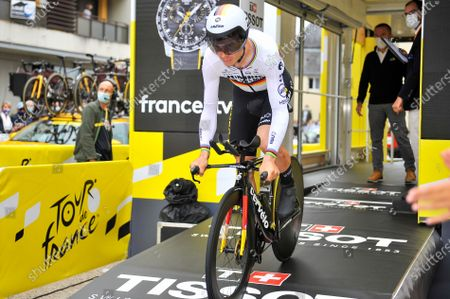 Stock Photo of Tony Martin (GER) at the start of stage 05 of Tour de France cycling race, an Individual Time Trial over 27.2 kilometers (16.9 miles) with start in Change and finish in Laval, France