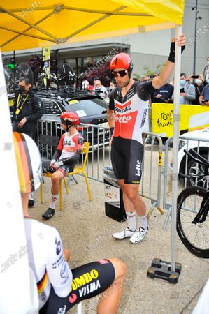 Roger Kluge (GER) is waiting with Tony Martin (GER) at the start of stage 05 of Tour de France cycling race, an Individual Time Trial over 27.2 kilometers (16.9 miles) with start in Change and finish in Laval, France