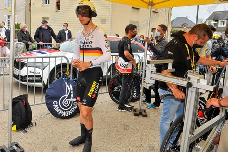 Tony Martin (GER) is waiting for his bike to be checked by UCI officials at the start of stage 05 of Tour de France cycling race, an Individual Time Trial over 27.2 kilometers (16.9 miles) with start in Change and finish in Laval, France