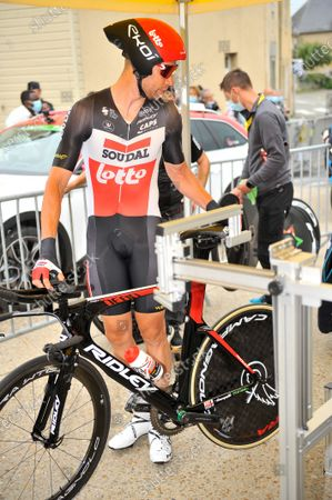 Roger Kluge (GER) at the start of stage 05 of Tour de France cycling race, an Individual Time Trial over 27.2 kilometers (16.9 miles) with start in Change and finish in Laval, France