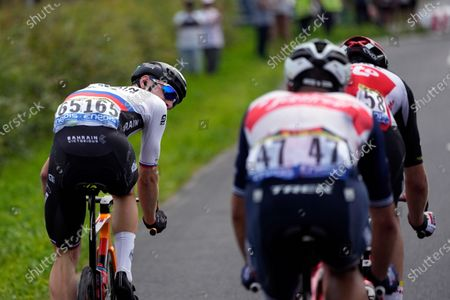 Slovenia's Matej Mohoric looks at Denmark's Michael Morkov, right, and Belgium's Jasper Stuyven, during the seventh stage of the Tour de France cycling race over 249.1 kilometers (154.8 miles) with start in Vierzon and finish in Le Creusot, France