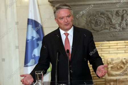Secretary General of the Organization for Economic Cooperation and Development (OECD), Mathias Cormann speaks during a joint press conference with Greek Prime Minister, Kyriakos Mitsotakis (not pictured), during a meeting at the Maximos Mansion in Athens, Greece, 02 July 2021.
