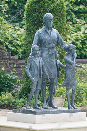 Editorial photo of Members of the public view Princess Diana statue, Kensington Palace, London, UK - 02 Jul 2021