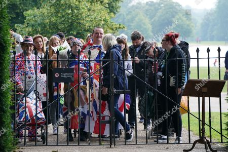 Editorial image of Members of the public view Princess Diana statue, Kensington Palace, London, UK - 02 Jul 2021