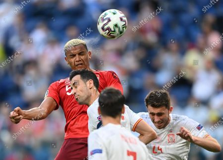 Manuel Akanji (up) of Switzerland goes for a header during the UEFA EURO 2020 quarter final match between Switzerland and Spain in St.Petersburg, Russia, 02 July 2021.