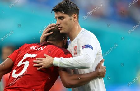 Manuel Akanji of Switzerland reacts with Alvaro Morata of Spain (R) during the UEFA EURO 2020 quarter final match between Switzerland and Spain in St.Petersburg, Russia, 02 July 2021.