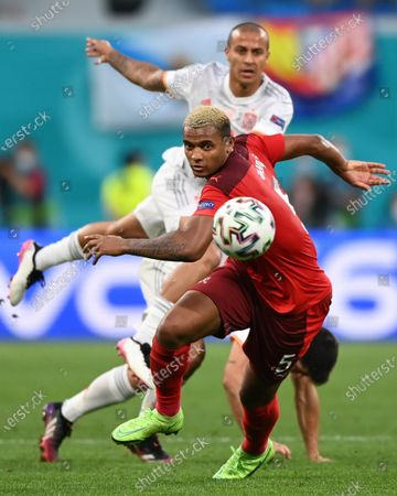 Stock Image of Manuel Akanji of Switzerland in action during the UEFA EURO 2020 quarter final match between Switzerland and Spain in St.Petersburg, Russia, 02 July 2021.
