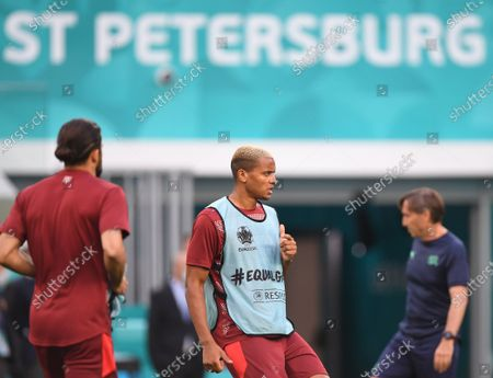 Manuel Akanji (C) of Switzerland warms up prior to the UEFA EURO 2020 quarter final match between Switzerland and Spain in St.Petersburg, Russia, 02 July 2021.