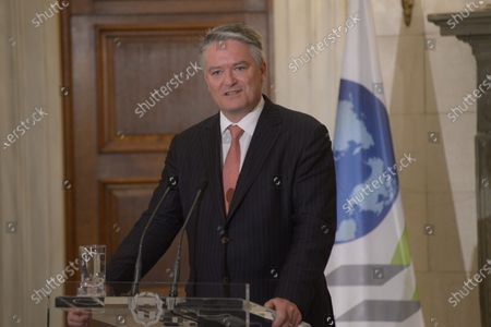 Mathias Cormann Secretary General of the Organization for Economic Co-operation and Development during the statements with Greek Prime Minister Kyriakos Mitsotakis.