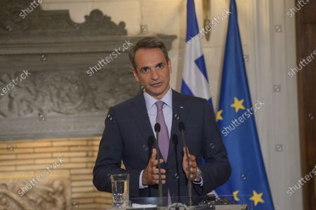 Greek Prime Minister Kyriakos Mitsotakis, during the statements with Mathias Cormann Secretary General of the Organization for Economic Co-operation and Development.