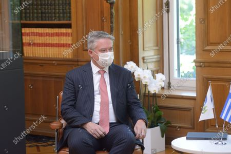 Mathias Cormann Secretary General of the Organization for Economic Co-operation and Development during the meeting with Greek Prime Minister Kyriakos Mitsotakis.