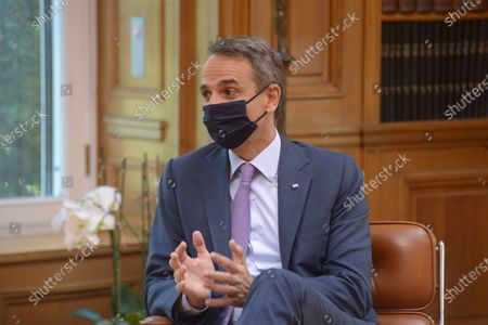 Stock Photo of Greek Prime Minister Kyriakos Mitsotakis, during the meeting with Mathias Cormann Secretary General of the Organization for Economic Co-operation and Development.