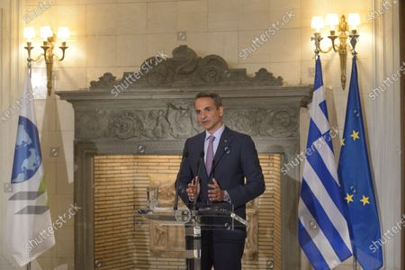 Stock Image of Greek Prime Minister Kyriakos Mitsotakis, during the statements with Mathias Cormann Secretary General of the Organization for Economic Co-operation and Development.