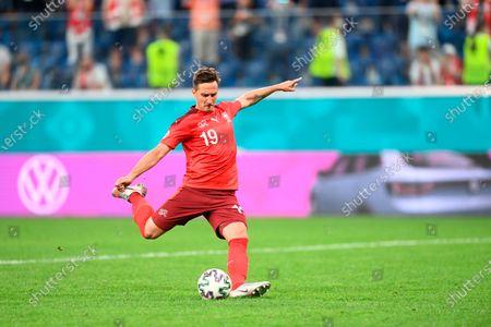 Stock Picture of Switzerland's Mario Gavranovic during the Euro 2020 soccer championship quarterfinal match between Switzerland and Spain, at the Saint Petersburg stadium in Saint Petersburg