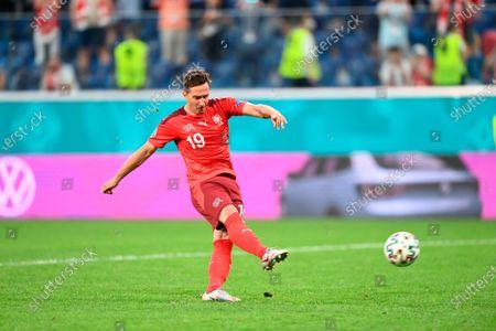 Switzerland's Mario Gavranovic during the Euro 2020 soccer championship quarterfinal match between Switzerland and Spain, at the Saint Petersburg stadium in Saint Petersburg