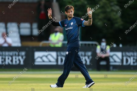 Jade Dernbach of Derbyshire Falcons celebrates taking the wicket of Ben Dwarshuis of Worcestershire Rapids