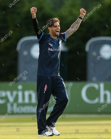Jade Dernbach of Derbyshire Falcons celebrates taking the wicket of Ben Cox of Worcestershire Rapids