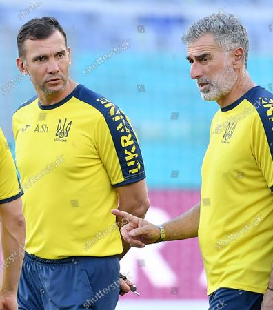Ukraine's head coach Andriy Shevchenko (L) and his vice Mauro Tassotti (R) attend the training session at the Olimpico stadium in Rome, Italy, 02 July 2021. Ukraine will face England in their UEFA EURO 2020 quarter final soccer match on 03 July 2021.