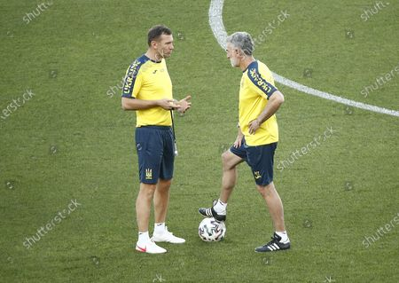 Stock Picture of Ukraine's head coach Andriy Shevchenko (L) and his vice Mauro Tassotti (R) attend the training session at the Olimpico stadium in Rome, Italy, 02 July 2021. Ukraine will face England in their UEFA EURO 2020 quarter final soccer match on 03 July 2021.