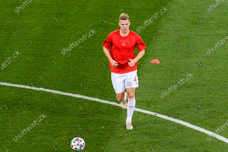 Nico Elvedi of Switzerland warming up during the UEFA Euro 2020 Championship Round of 16 match between France and Switzerland at National Arena