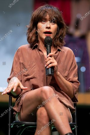 Stock Image of Actress Maria Leon during a press conference on La Pasion de Yerma at the theaters del canal in Madrid.