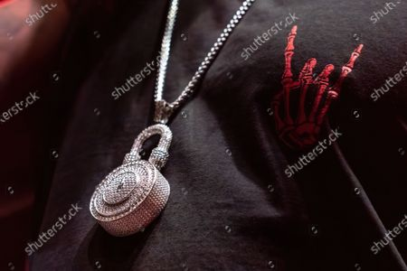 """Rapper Slim Thug's necklace during his performance at """" Snoop Dogg VS DJ Snoopadelic"""" at the H-E-B Center"""