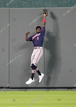 Minnesota Twins Nick Gordon (1) makes a great catch at the wall in the sixth inning at Kauffman Stadium in Kansas City, MO. Royals defeated Twins 7-4