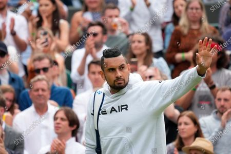 Australia's Nick Kyrgios leaves the court after retiring from the men's singles third round match against Canada's Felix Auger-Aliassime on day six of the Wimbledon Tennis Championships in London