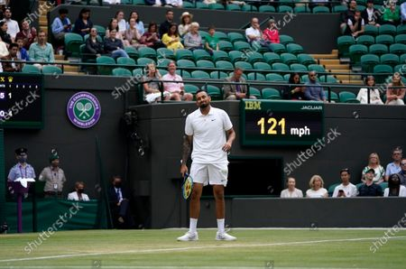 Australia's Nick Kyrgios during the men's singles third round match against Canada's Felix Auger-Aliassime on day six of the Wimbledon Tennis Championships in London