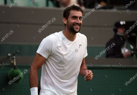 Croatia's Marin Cilic smiles during the men's singles third round match against Russia's Daniil Medvedev on day six of the Wimbledon Tennis Championships in London