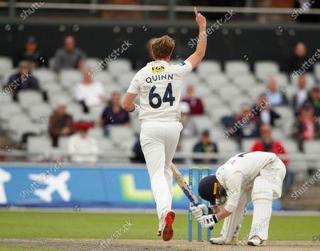 Matt Quinn of Kent celebrates after he has Lancashire's Alex Davies caught behind by Jordan Cox; Emirates Old Trafford, Manchester, Lancashire, England; County Championship Cricket, Lancashire versus Kent, Day 2.