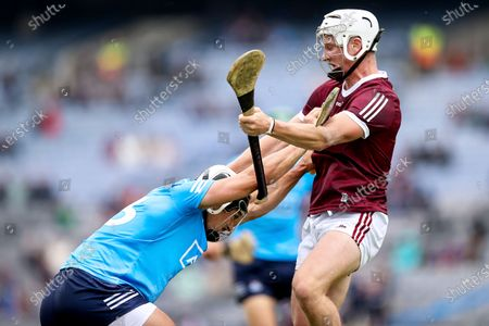 Galway vs Dublin. Dublin's Cian Boland with Darren Morrissey of Galway