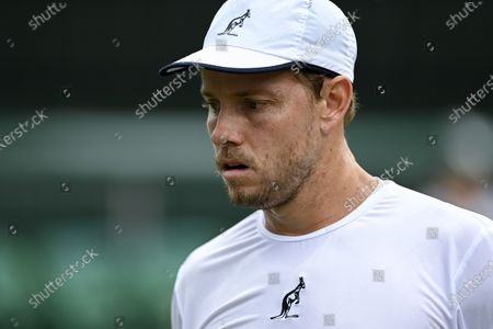 James Duckworth of Australia reacts during his third round match against Lorenzo Sonego of Italy at the Wimbledon Championships in Wimbledon, Britain, 03 July 2021.