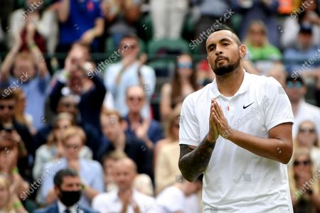 Nick Kyrgios of Australia reacts after quitting due to an injury during the 3rd round match against Felix Auger-Aliassime of Canada at the Wimbledon Championships, in Wimbledon, Britain, 03 July 2021.