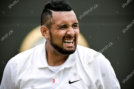 Nick Kyrgios of Australia reacts during the 3rd round match against Felix Auger-Aliassime of Canada at the Wimbledon Championships, in Wimbledon, Britain, 03 July 2021.