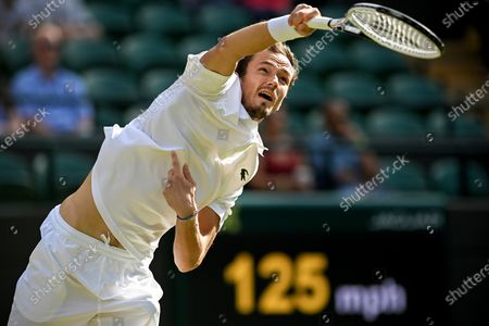 Daniil Medwedew of Russia serves during the 3rd round match against Marin Cilic of Croatia at the Wimbledon Championships, in Wimbledon, Britain, 03 July 2021.