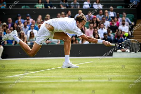 Daniil Medwedew of Russia hits a forehand during the 3rd round match against Marin Cilic of Croatia at the Wimbledon Championships, in Wimbledon, Britain, 03 July 2021.