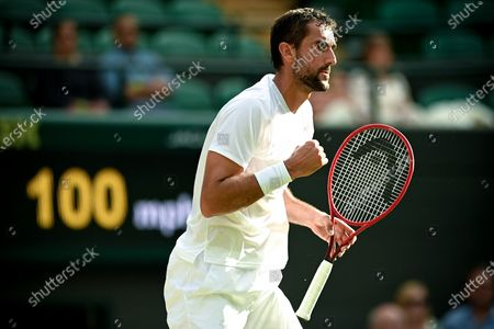 Marin Cilic of Croatia reacts during the 3rd round match against Daniil Medwedew of Russia at the Wimbledon Championships, in Wimbledon, Britain, 03 July 2021.