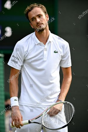Daniil Medwedew of Russia reacts during the 3rd round match against Marin Cilic of Croatia at the Wimbledon Championships, in Wimbledon, Britain, 03 July 2021.