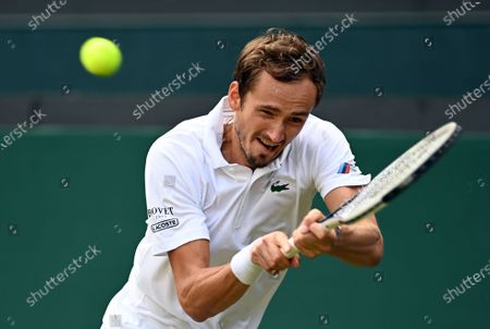 Stock Image of Daniil Medvedev of Russia during the 3rd round match against Marin Cilic of Croatia at the Wimbledon Championships, in Wimbledon, Britain, 03 July 2021.