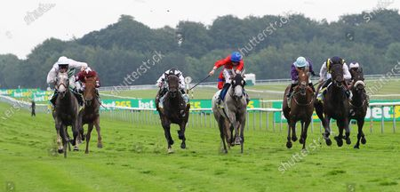 Alpinista and Luke Morris win the Bet365 Lancashire Oaks at Haydock from Lady Hayes and Cabaletta.