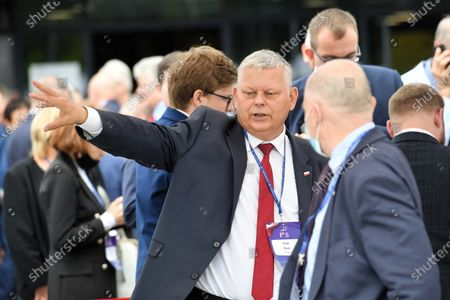 Member of the Law and Justice party (PiS) Marek Suski (C) arrives for the Law and Justice party's congress at the EXPO XXI Center in Warsaw, Poland, 03 July 2021. The ruling conservative party's members convene to elect its party leader. It is widely expected Jaroslaw Kaczynski will continue in this role.