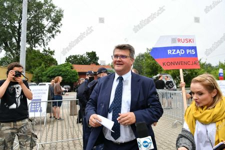 Member of the Law and Justice party (PiS) Maciej Wasik (C) arrives for the Law and Justice party's congress at the EXPO XXI Center in Warsaw, Poland, 03 July 2021. The ruling conservative party's members convene to elect its party leader. It is widely expected Jaroslaw Kaczynski will continue in this role.