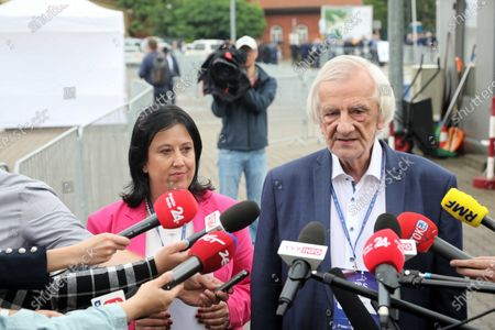 Law and Justice party spokesman Anita Czerwinska (L) and Polish Deputy Sejm Speaker Ryszard Terlecki (R) talk with journalists after the Law and Justice party's congress in Warsaw, Poland, 03 July 2021. Jaroslaw Kaczynski has been re-elected Poland's ruling Law and Justice's leader.